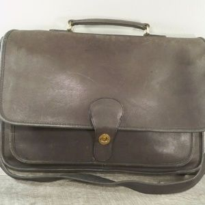 Coach Distressed Leather Briefcase Messenger Bag